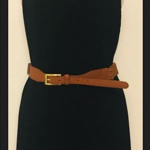 Leather and elastic stretch layered belt
